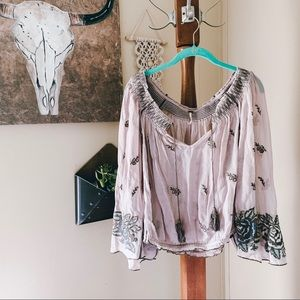 FREE PEOPLE • floral embroidered peasant top